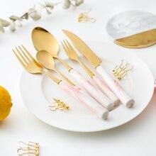 5PC Simple Marbled Pattern Ceramic Handle Stainless Steel Tableware Food Steak Dessert Family Fruit Fork Dining Tableware