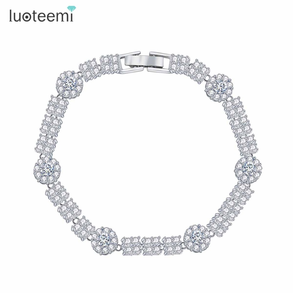 LUOTEEMI Fashion Classic Style Brand New Unique White Gold Plated bracelets & bangles For Women Party Elegant Jewelry Wholesale