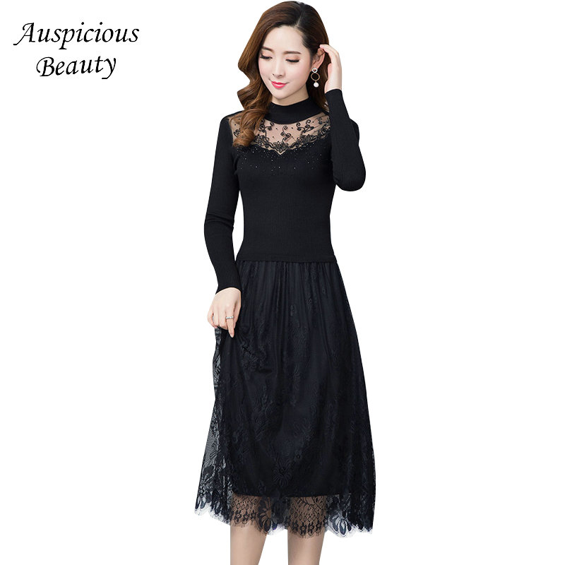 Spring Women Elegant Black Dress Hook Flowers Hollow Out Lace Patchwork Long Sleeve Slim Party Dresses Long Knitted Dress SM521 black long sleeve lace dress