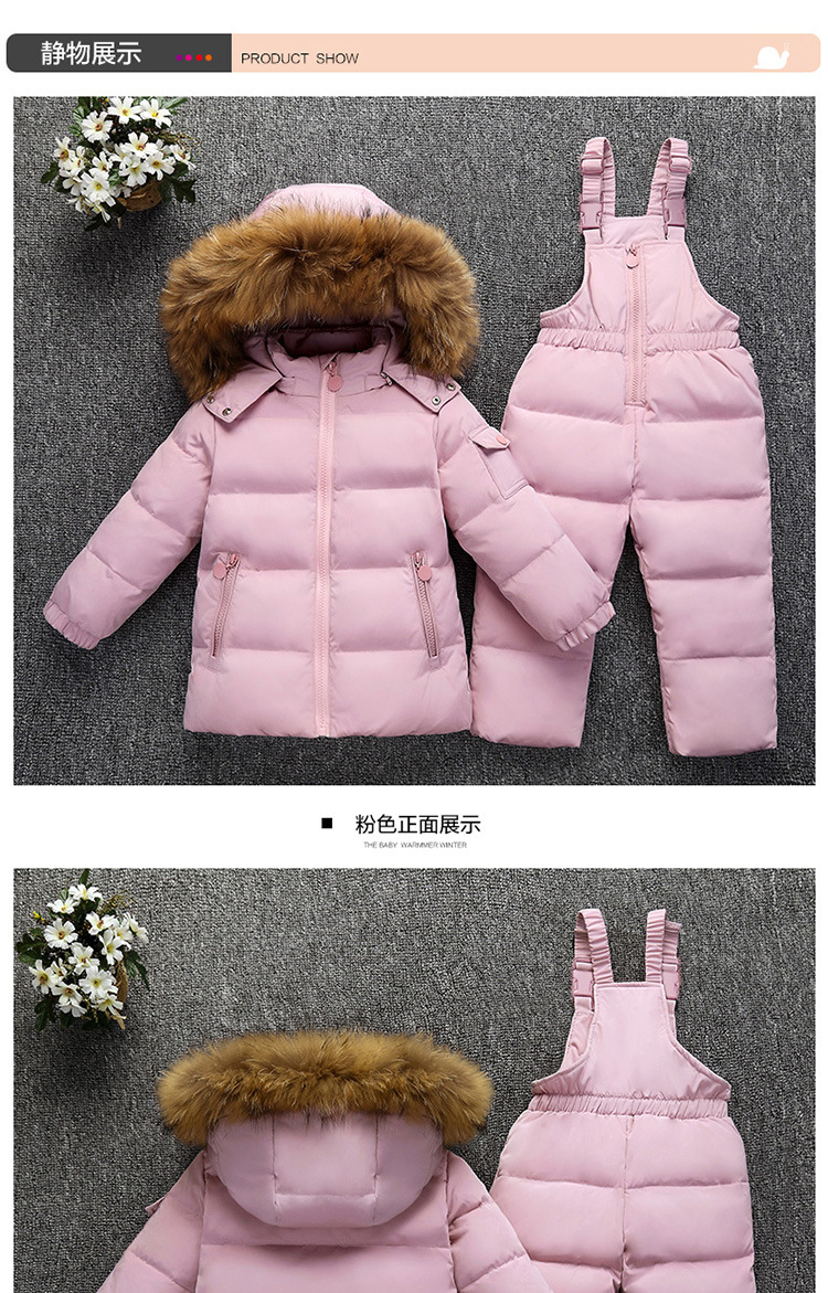 26c50c05b 2018 New Boys Winter Children Clothing Set For Girls Jackets Coat Overalls  Warm Down Snow Suit Baby Kids Clothes