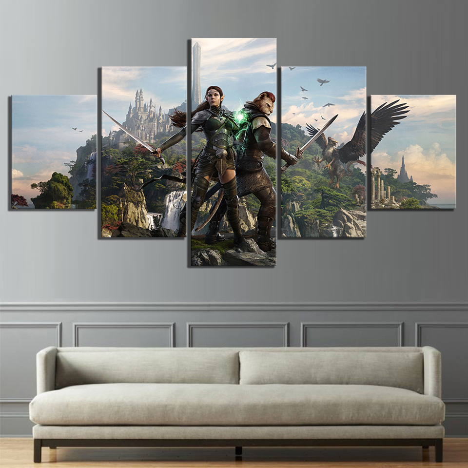 5 Piece RPG Game The Elder Scrolls Poster Game Canvas Printed Wall Pictures Home Decor For Living Room Poster Canvas Wholesale in Painting Calligraphy from Home Garden