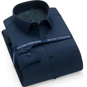 Image 2 - Winter Warm thick dress shhirt Fashion Brand Camisa Masculina Long Sleeve Shirt Men Slim fit Formal Casual Male Shirt Plus Size