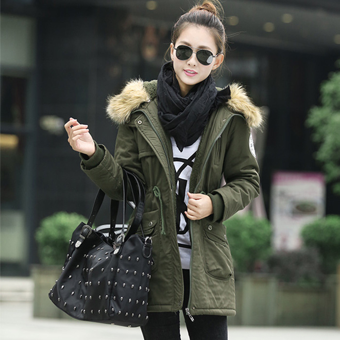 77265ea3e07 Hot  Plus Size 2018 Winter Women Fashion Long Sleeve Jacket Medium Length  Slim Thick Woolen Collar Parkas Coat Outwear With Hat-in Parkas from  Women s ...