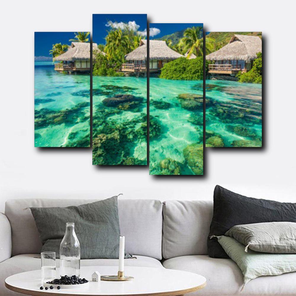 Laeacco Sanya Scenery Sea Canvas Prints Painting Home Decoration Wall Art Paintings Pictures For Living Room Bedroom No Frame in Painting Calligraphy from Home Garden