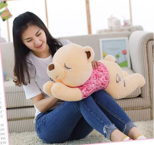 Stuffed animal Teddy bear with pink cloth lying teddy bear sleeping bear about 35 inch plush toy 90 cm throw pillow doll b0887 2pcs pair lovely couple teddy bear with cloth dress plush toy stuffed baby doll girls