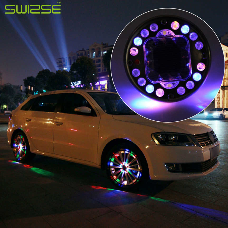 4PCS/lot LED Colorful RGB Waterproof Flash Wheel Lights LED Lights for Car Rims Solar Power Wheel Lamp For Audi BMW Honda Focus