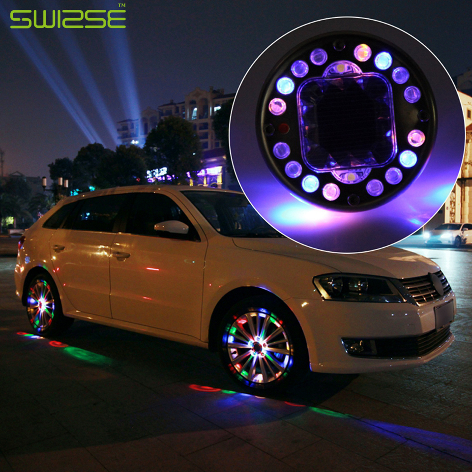 Color wheel online - 4pcs Lot Led Colorful Rgb Waterproof Flash Wheel Lights Led Lights For Car Rims Solar