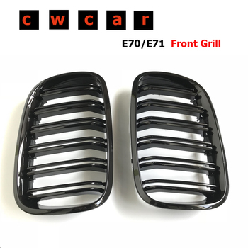 Pair Gloss Black Double Slat Kidney Grille Front Grill For BMW X5 X6 E70 E71 2007-2013 Car Styling Racing Grills image