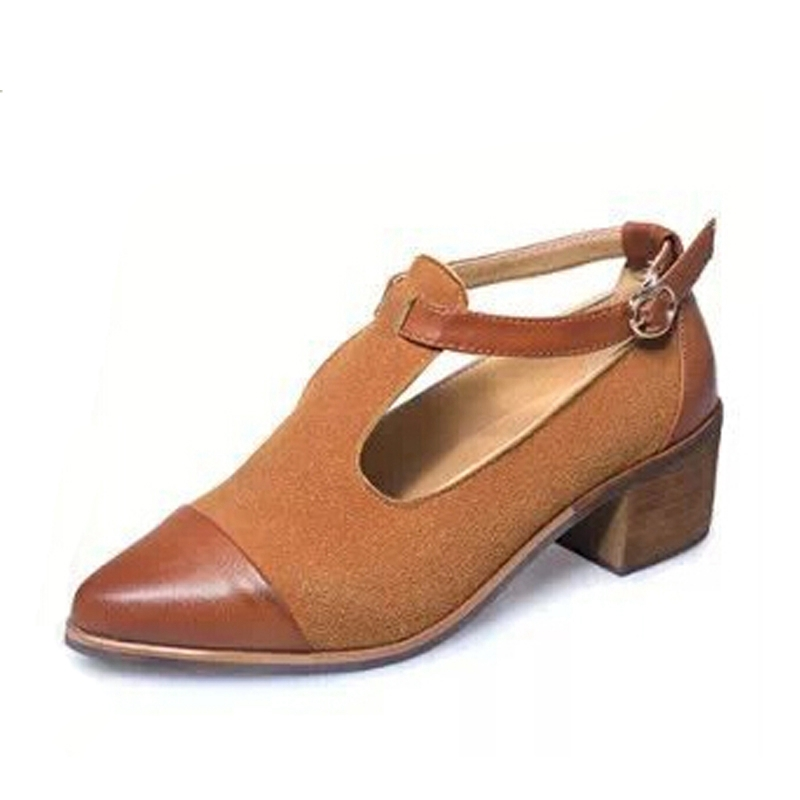 Fashion Pointed Toe Oxfords British Style Low Heels Patchwork Buckle Oxford Shoes Woman Casual Vintage High Heels XWD2469 new 2015 autumn flat t strap oxford shoes for women vintage british style round toe low thick heels women oxfords shoes woman