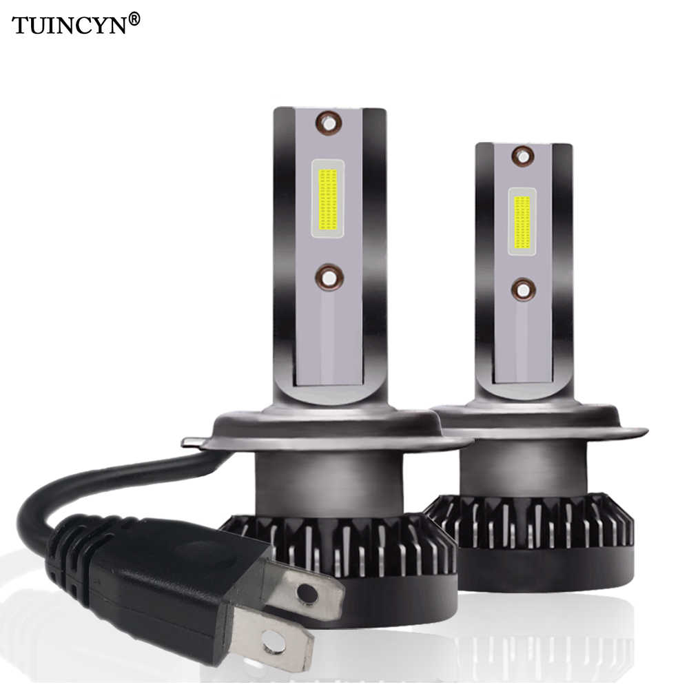TUINCYN 2pcs H7 Mini Led Car Headlight 12000lm 6000k White Super Bright Light Auto 12V Lamps New Designed COB Led Head Lamp