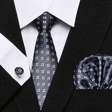 Necktie Handkerchief Set Hanky Cufflinks Tie For Men Fashion Pocket Square Classic Party Wedding striped 7.5cm