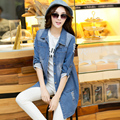 2017 Apring And Autumn Clothes Plus Size Casual Loose Medium-Long Hole Denim Cardigan Tops For Women