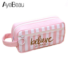 Cute Beauty Vanity For Brush Toiletry Kit Travel Cosmetic Makeup Make Up Bag Pen Pencil Case Organizer Women Small Pouch Female aluminum make up bag case portable travel jewelry cosmetic bag organizer box beauty vanity brush storage bags makeup kit tools