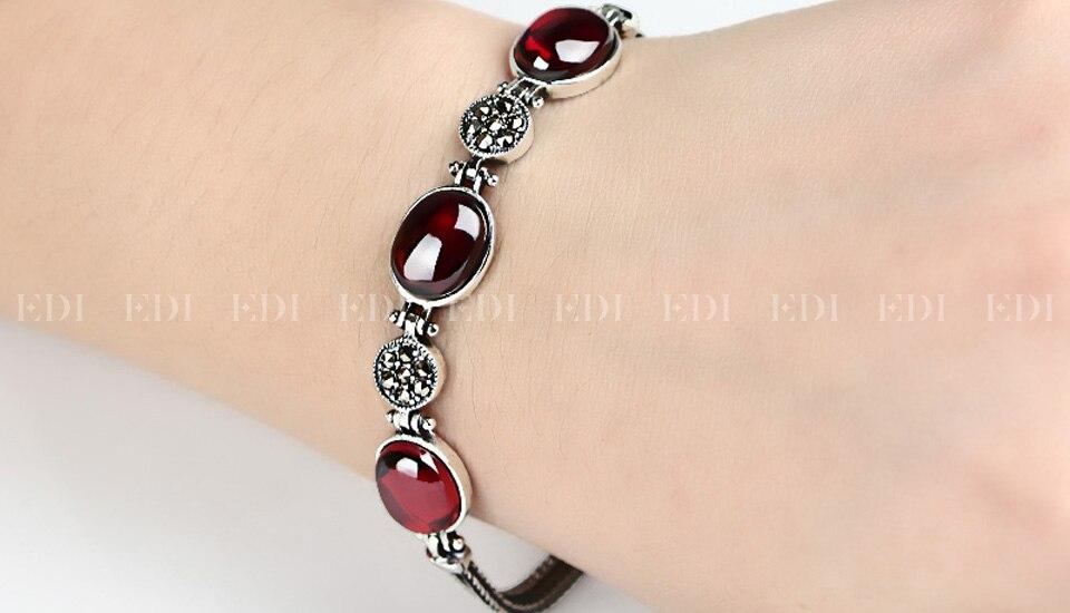 Red Gemstone Bracelet - on wrist