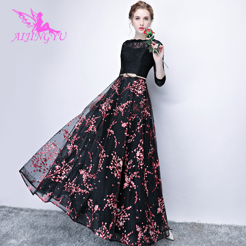 AIJINGYU Sexy Long Sleeve Evening Dress Party Gown 2018 Women Elegant Formal Special Occasion Dresses Fashion Gowns FS528