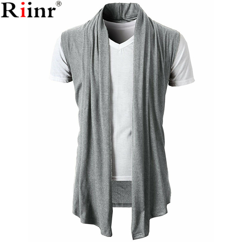 Riinr Mens Cardigans Knitwear Open-Front Winter Sleeveless Shawl Pull Long Collar Homme