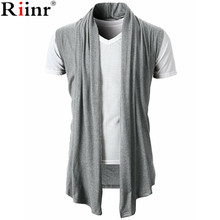 Riinr 2018 New Knitted Cardigan Men Sweater Shawl Collar Sleeveless Open Front Pull Homme Long Mens Cardigans Winter Knitwear