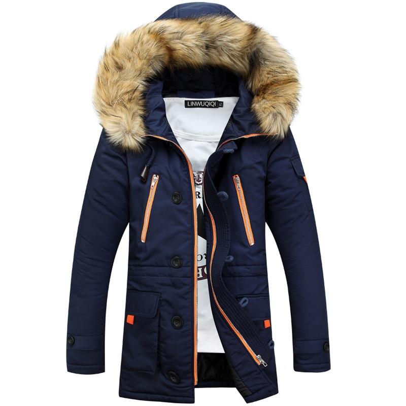 New Trend Fur Hooded Navy Blue Parka Men Doudoune Homme Hiver 2016 Winter Fashion Slim Padded Cotton Down Jacket Parkas Hommes куртка everlast hooded bubble navy купить