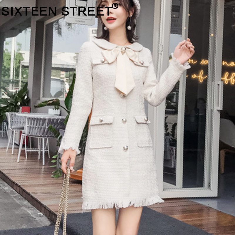 Detail Feedback Questions about Vintage Bow mini knitted dress gold button  long sleeve high end elegant party womans dress coarse knitting Cotton  cloth ... 29aa97f68ced