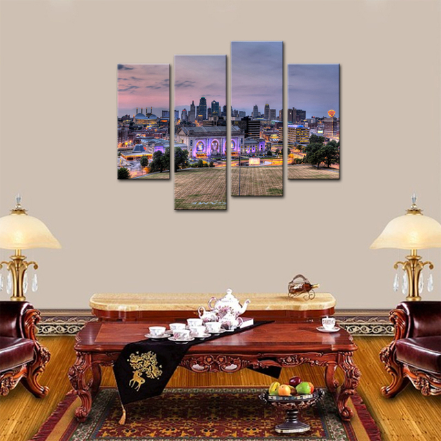 4 Panels Kansas City Buildings Modern Painting Giclee Artwork Canvas  Painting Wall Art For Home Decor