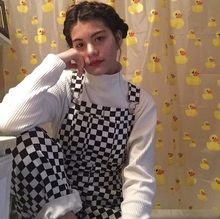2018 New Retro Old School Hiphop Style Black White Plaid Mosaic Checkerboard Lattice Overalls Women Men Harajuku Loose Bib Pants(China)