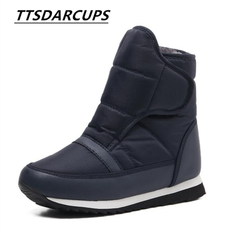 winter Korean Leisure time Simple Snow boots Flat All match slip Hook & Loop Lovers' long short cylinder boots Big code 35 44