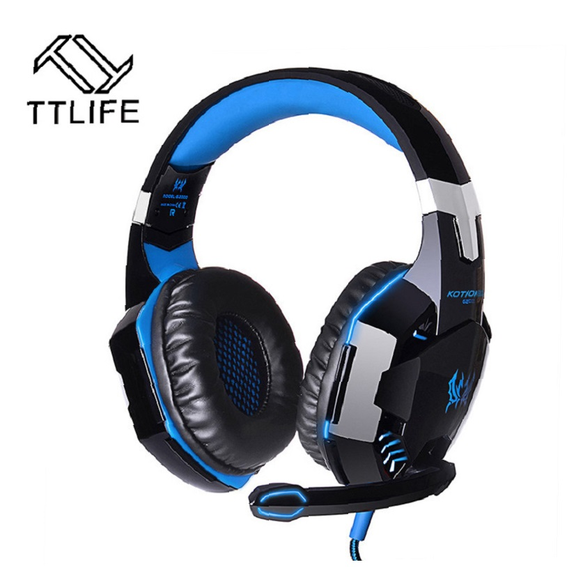TTLIFE G2000 Gaming Headphone Stereo Surrounded Over-Ear Gaming Headset Headband Earphone with Mic LED Light for PC Gamer LOL xiberia k9 usb surround stereo gaming headphone with microphone mic pc gamer led breath light headband game headset for lol cf
