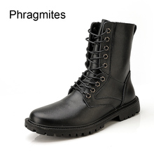 Phragmites High Quality Riding Motorcycle Boots Men Winter Snow Botines Plus Size 38-50 Army Desert Battle Shoes