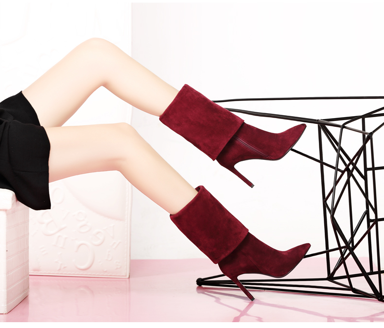 Winter Genuine Leather Thin Heels Pointed Toe Knee High Boots Short Plush Thick Warm Lady Long Boots 20170204