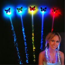 1pcs Blinking Hair Clip Flash LED Braid Show Party Decoration Colorful Luminous Braid Optical Fiber Wire Hairpin Christmas gift(China)