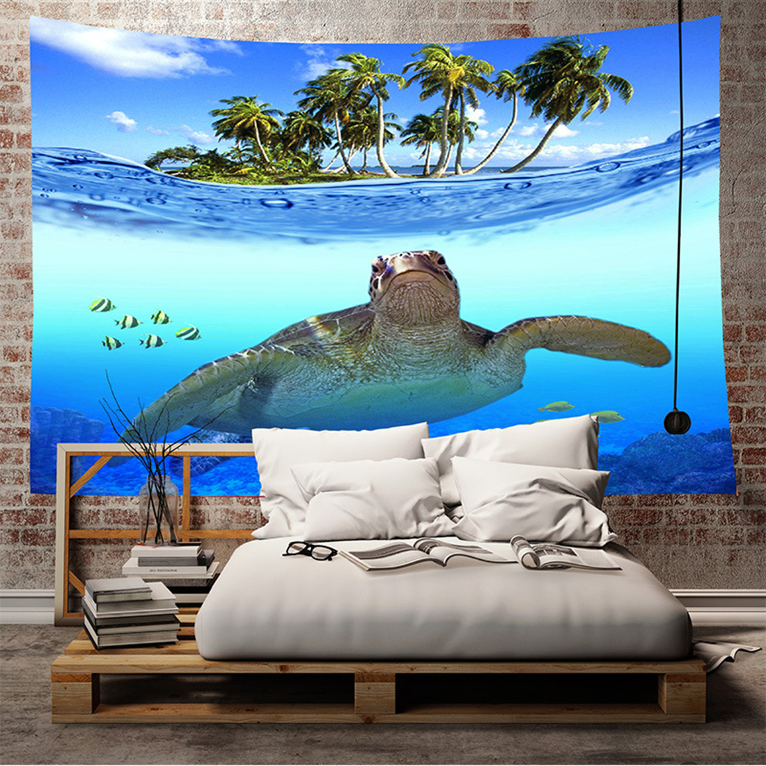 Large Sea World Turtle Tapestry Wall Hanging Bohemia Tapestries Bedspread Table Cloth Home Kids Room Decor Beach Mat Yoga Mat