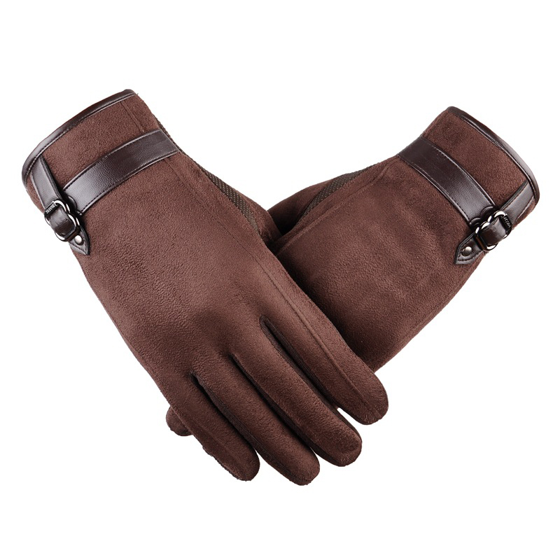 Men Winter Warm Suede Leather Gloves Touchscreen Thick Cashmere Soft Glove Spring Outdoor Anti Slip Windproof Driving Ski Gloves