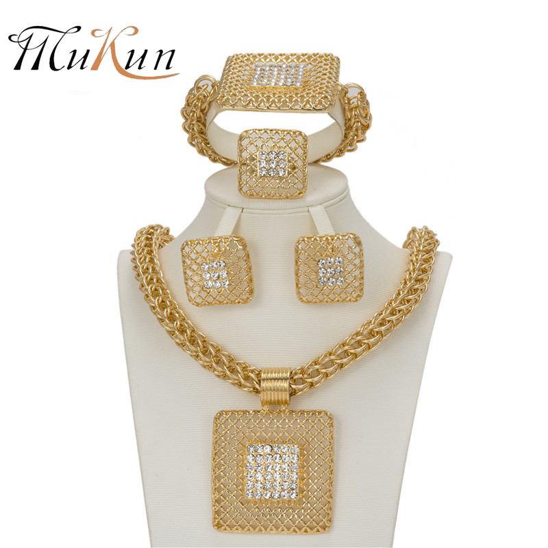 MUKUN Fashion jewelry Nigeria Africa wedding Imitated crystal Bridal Jewelry Set Luxury Necklace wedding/banquet accessories