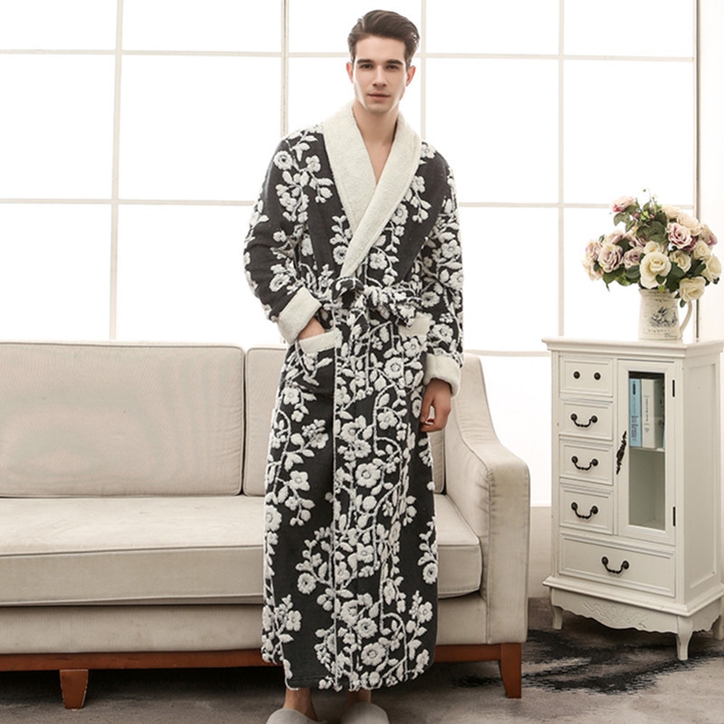 1f7d66dd1c CEARPION High Quality Black Men Robe Winter Warm Long Limono Bathrobe Gown  Jacquard Male Flannel Sleepwear Nightgown M XL 3XL-in Robes from Underwear  ...