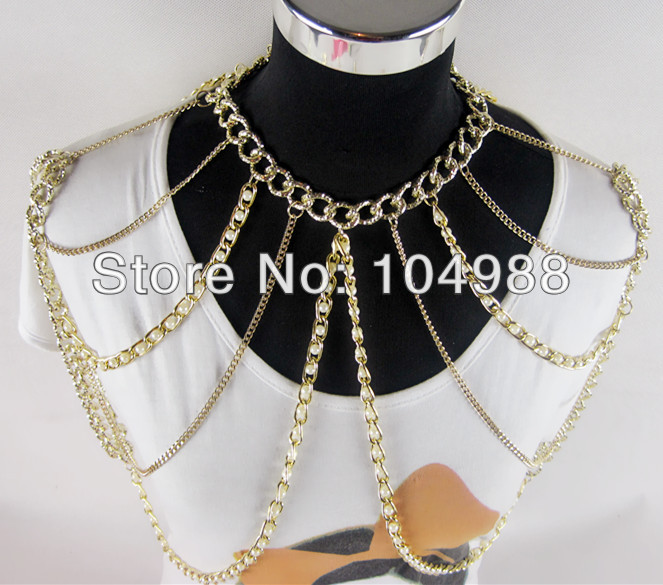 FREE SHIPPING New Fashion Women Multi-layers Punk Pearl Gold Tone Chains Body Chains Slave Harness Double Shoulder Jewelry