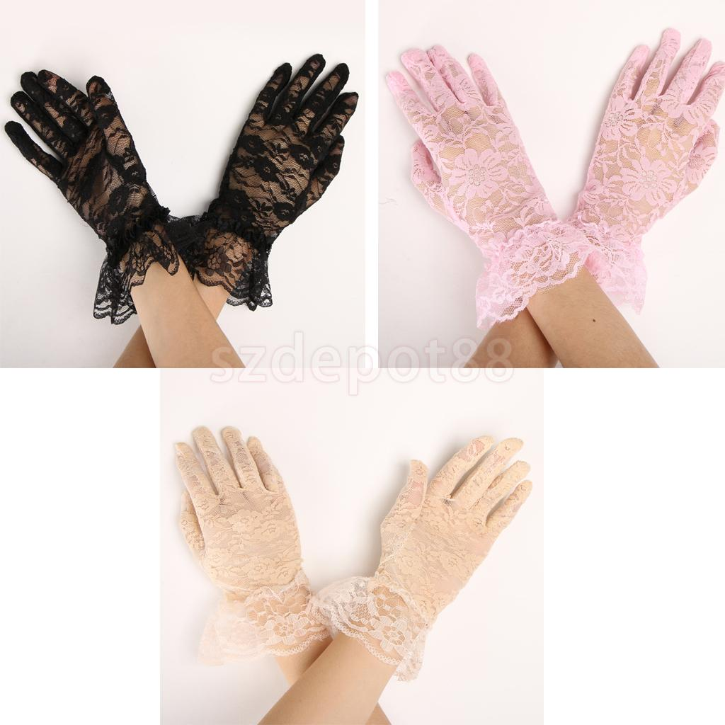 Lady Lace Short Full Bridal Accessory Gloves Party Prom Gloves