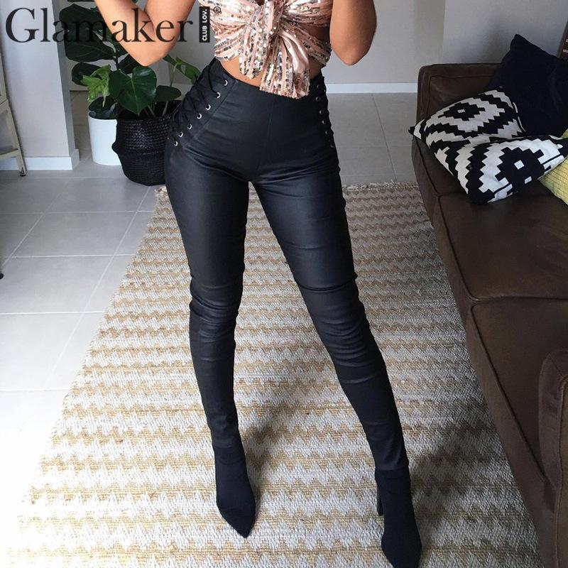 Glamaker Lace up PU leather   pants   female Elastic bodycon skinny   pants     capris   Sexy high waist trousers women   pants   winter bottom