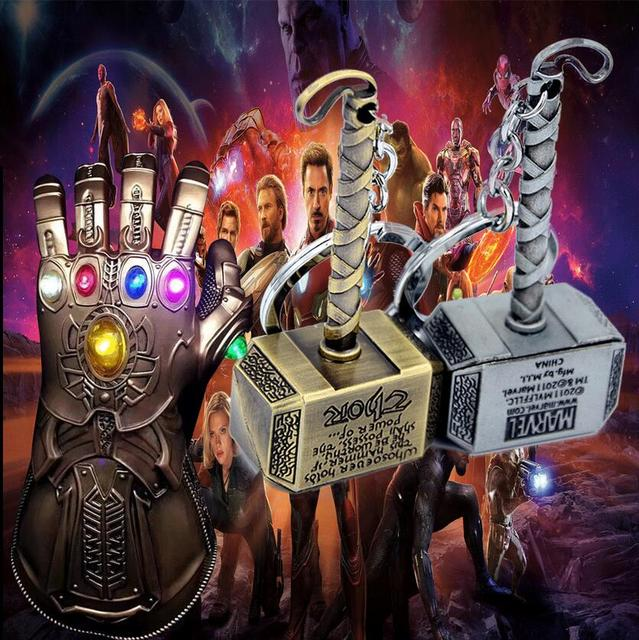 Infinito Guerra Marvel Thor Martelo Keychain Brinquedos De Metal homem De Ferro Do Homem Aranha Batman Capitão Marvel Chaveiros de Metal Chave da cadeia de Brinquedos Para Adultos