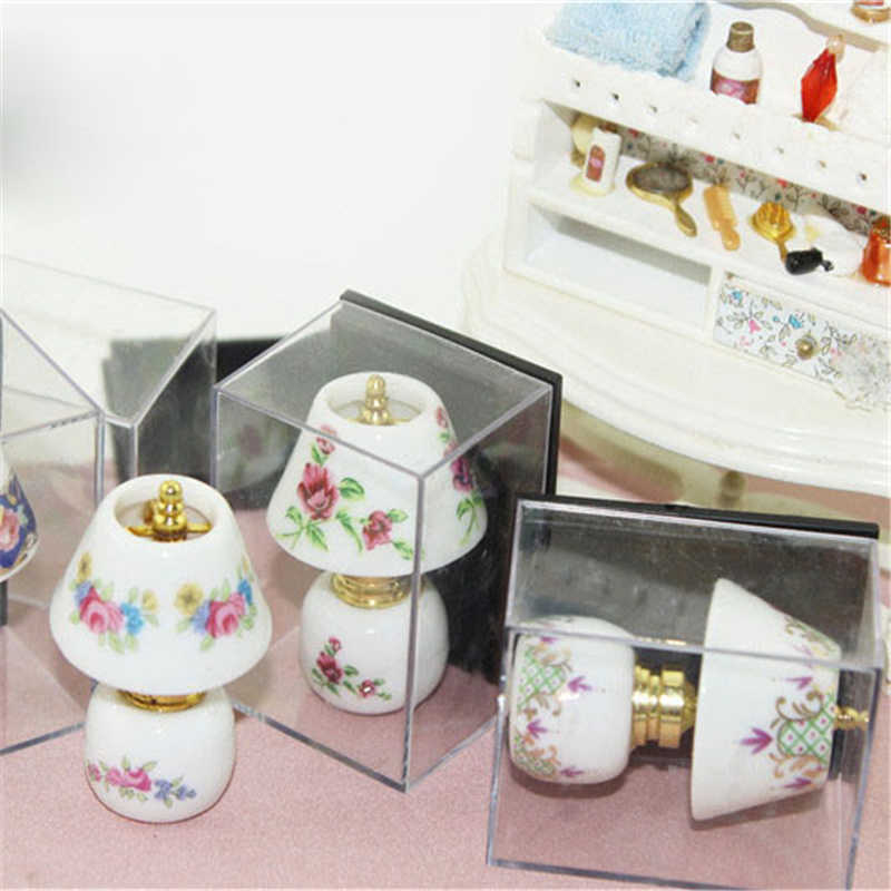 Mini Ceramic Lamp Miniatures Dollhouse Toy Porcelain Miniature 1:12 Table Lamp Doll House 1:12 Accessories