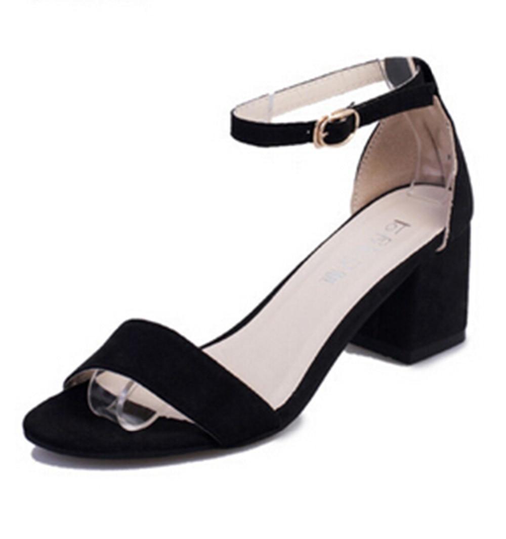 Black dress sandals medium heel - Elegant Sandals For Women Black Grey Color Summer Think Mid Heel Dress Sandals The Fish Head