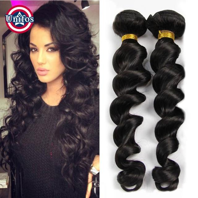 Unifos Brazilian Virgin Hair Loose Wave 2 Bundles Cheap 100 Percent
