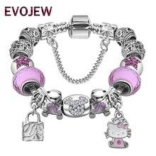 Lovely Children Cat Kitty Charm Bracelet for Kids Girls Murano Glass Beads Bracelet For Women Ladies DIY Fashion Jewelry