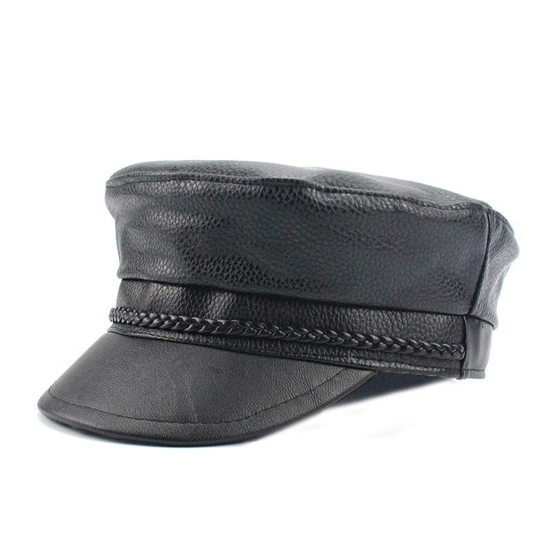 169faf7ad US $9.13 20% OFF|New 2018 Spring PU Hats Faux Leather Casual Thermal Men  Military Hat Short Brim Cadet Adult Cap Women Bone Female Black Gorras-in  ...