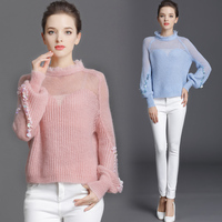 MUMUZI Women Clothing 2018 Fringed Knitted Tops Mohair Sheer Pullover Sweater Pink and Blue Sequined Lantern Sleeve Sweaters