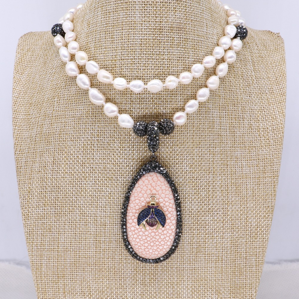 Fashion Fish skin pendant with tiny Bugs necklace handmade pearls strand jewelry necklace fashion jewelry gift for lady 4123