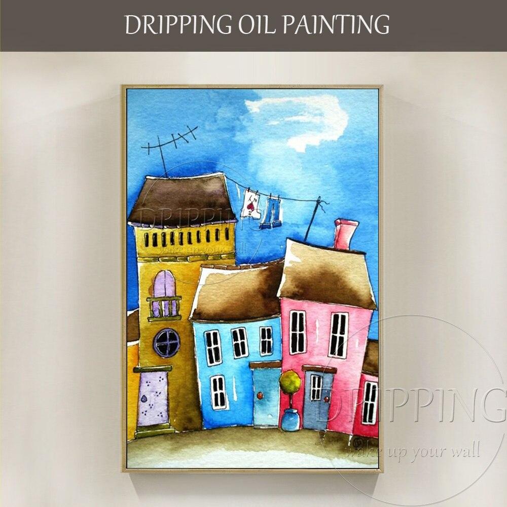 Nouveau Design Artiste peint à la Main de Haute Qualité Maisons Peinture À L'huile sur Toile Colorée Maison Bâtiment Peinture À L'huile pour le Salon chambre