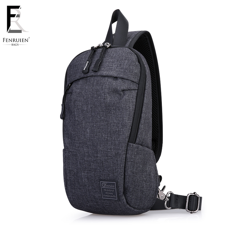 FRN Canvas Chest Pack Men Casual Shoulder Crossbody Bag Vintage Chest Bag Water Repellent Travel Messenger Bag Male Fashion