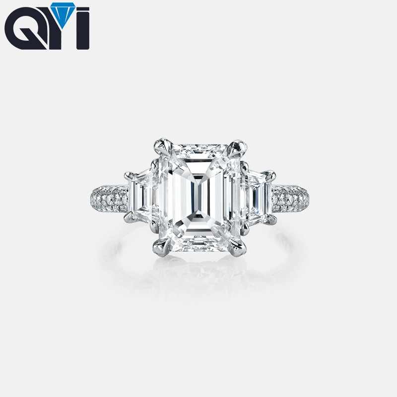 QYI 4 Ct Emerald Cut Simulated Diamond Engagement Rings 925 Sterling Silver Ring For Women Wedding