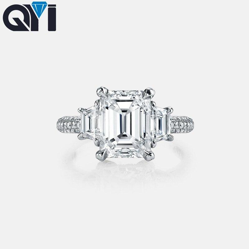QYI 4 Ct taille émeraude simulé diamant bagues de fiançailles 925 bague en argent Sterling pour les femmes de mariage promesse anneau bijoux de mariée