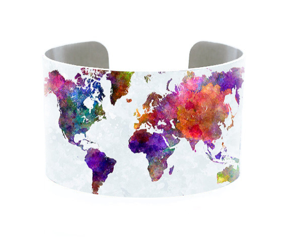 Vintage Map Cuff Old World...
